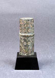 青銅金銀象嵌雲気文金具(中国 戦国時代)