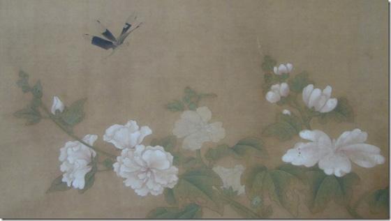 狩野探幽筆 蜀葵に蜻蛉図