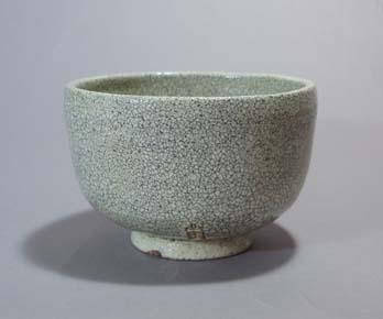 楽々園焼(尾張徳川お庭焼) 白茶碗 銘 若草 松平義建公箱
