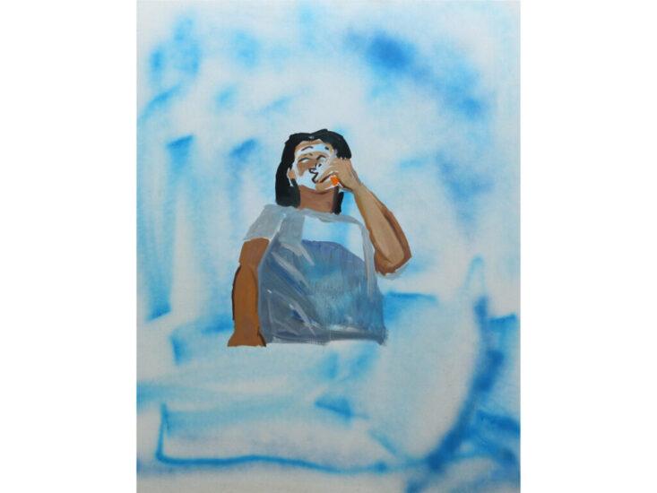 「smoking」 2021 spray, oil on canvas 100.0×80.3cm