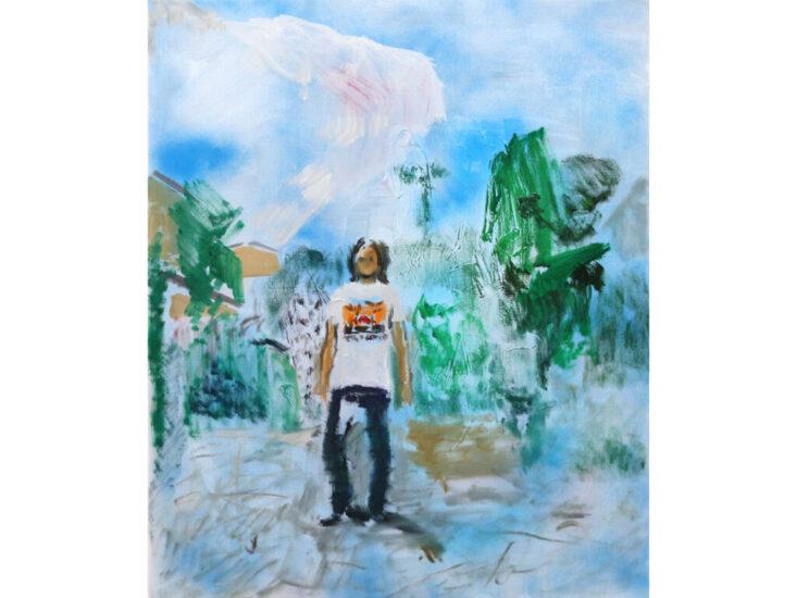 「standing」 2021 spray, oil on canvas 72.7×60.6cm